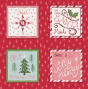 Lewis & Irene North Pole - 5495 - Christmas Label Squares on Red - C11.3 - Cotton Fabric